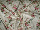 SAMPLE LEE JOFA KRAVET SHABBY ROSES VINE TRELLIS POLISHED COTTON FABRIC 10 YARDS CREAM ROSE PINK GREEN BLUE