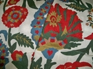 SAMPLE LEE JOFA OSCAR DE LA RENTA TERMEZ EMBROIDERED CREWEL FABRIC RED MULTI