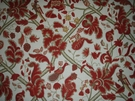 SAMPLE OSCAR DE LA RENTA JACOBEAN BLOOMSBURY LINEN FABRIC RED / GOLD