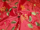 SAMPLE PASARI CHLOE EMBROIDERED SILK FABRIC MEDITERRANEAN POPPY