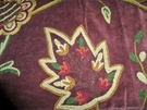 SAMPLE PASARI JAKARA JACOBEAN WOOL CREWEL EMBROIDERED VELVET FABRIC PLUM MULTI