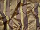 "SAMPLE PINDLER ""PASADENA"" SILK STRIPES FABRIC GODIVA & GOLD"