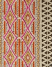 SAMPLE POLLACK ETHNIC CHIC EMBELLISHED EMBROIDERED LINEN FABRIC HOT PINK MULTI