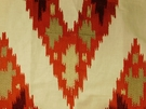 SAMPLE ROBERT ALLEN BAHADUR FLAMESTICH LINEN EMBROIDERED FABRIC HENNA