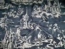 SAMPLE SCALAMADRE SUMMER PALACE FABRIC CHARCOAL