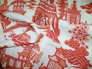 SAMPLE SCHUMACHER CHINOISERIE PAGODA TOILE LINEN FABRIC SALMON CORAL