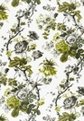 SAMPLE SCHUMACHER ELIZABETH FLORAL PRINTED COTTON FABRIC ACID GREEN / GREIGE