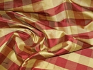 SAMPLE SCHUMACHER FRENCH COUNTRY BUFFALO CHECK SILK FABRIC BURGUNDY GOLD
