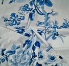 SAMPLE SCHUMACHER HOLLYHOCK FLORAL COTTON TOILE FABRIC BLUES WHITE
