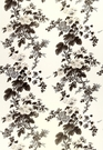 SAMPLE SCHUMACHER HOLLYHOCK FLORAL COTTON TOILE FABRIC CHARCOAL GREY IVORY