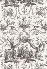 SAMPLE SCHUMACHER LE COURONNEMENT DE LA ROSIERE FRENCH TOILE FABRIC GRAY