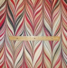 SAMPLE SCHUMACHER MARBELIZED STRIPES LINEN FABRIC RUBY