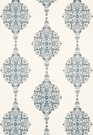 SAMPLE SCHUMACHER MEHNDI LINEN PRINT FABRIC  INDIGO BLUE MULTI