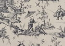 SAMPLE SCHUMACHER SHENGYOU TOILE LINEN FABRIC CHARCOAL