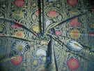 SAMPLE SILK LOOM ART NOUVEAU LIBERTY SILK DAMASK FABRIC BLUE ROSE CREAM