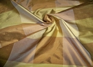SAMPLE SILK LOOM CARLTON IRIDESCENT SILK CHECK FABRIC GOLD BRONZE BROWN
