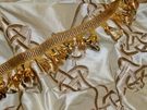 SAMPLE SILK LOOM CEREMONY EMBROIDERED SILK FABRIC GOLD CREAM BOLT