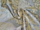 SAMPLE SILK LOOM FORTUNY STYLE VENETIAN PRINTED SILK FABRIC 30 YARD BOLT SILVER TAUPE CREAM