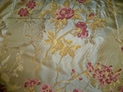 SAMPLE SILK LOOM FRENCH ROMANTIQUE SILK DAMASK BROCADE FABRIC GOLD ROSE PINK