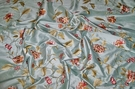 SAMPLE SILK LOOM GALEENA EMBROIDERED FLORAL SILK FABRIC BLUE OYSTER RED GREEN