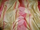 SAMPLE SILK LOOM PRIMAVERA STRIPES SILK TAFFETA FABRIC ROSE PINK PEACH CELADON