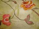 SAMPLE STROHEIM HARLOW FLORAL EMBROIDERED SILK FABRIC GOLD PINK MELON