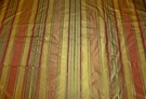 SAMPLE STROHEIM LANGSTON STRIPES SILK TAFFETA FABRIC CINNABAR GOLDENROD GREEN