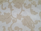 SAMPLE STROHEIM & ROMAN ANDROS EMBROIDERED ACANTHUS JACOBEAM LINEN FABRIC WHITE CREAM