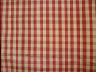 SAMPLE TAPESTRIA FRENCH COUNTRY GINGHAM CHECK SILK FABRIC BURGUNDY GOLD