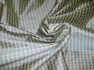 SAMPLE TAPESTRIA FRENCH COUNTRY GINGHAM CHECK SILK FABRIC FRENCH BLUE CREAM