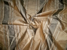 "SAMPLE TAPESTRIA ""MONTEL"" STRIPES SILK FABRIC BUTTERCREAM / LEAF BOLT"
