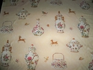 SAMPLE TRAVERS CUTHBERT HALL PORCELAIN VASES TUREENS TEAPOTS FABRIC 8 YARDS CREAM MULTI