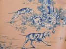 SAMPLE VERVAIN ELWAY HALL TOILE BD HUNTING HORSE DOG COTTON PRINT FABRIC BLUEBERRY