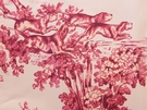SAMPLE VERVAIN ELWAY HALL TOILE BD HUNTING HORSE DOG COTTON PRINT FABRIC MAHOGANY ON CELADON