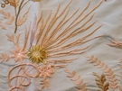 SAMPLE VERVAIN FLEUR DE MER FLORAL EMBROIDERED SILK FABRIC SEAGLASS