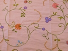 SAMPLE VERVAIN RUPALI FLORAL EMBROIDERED SILK FABRIC KIWI