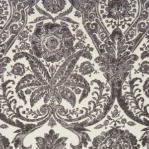 SCALAMADRE LUCIANA DAMASK PRINT FABRIC GRAPHITE