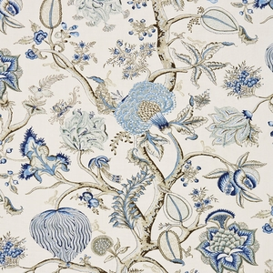 SCALAMADRE PONDICHERRY LINEN PRINT FABRIC DELFT