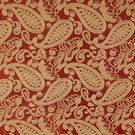 SCALAMANDRE ANGELIQUE PAISLEY SILK FABRIC RED & GOLD - 5 YARD MINIMUM