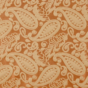 SCALAMANDRE ANGELIQUE PAISLEY SILK FABRIC RUST & GOLD - 5 YARD MINIMUM