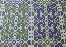 SCALAMANDRE BALI CHINOISERIE LAMPAS FABRIC EMERALD & NAVY