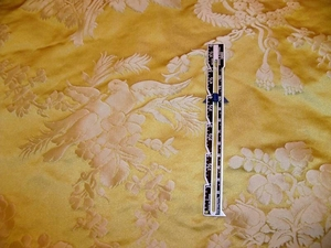 "SCALAMANDRE BARANZELLI ""PALOMA"" DOVE YELLOW GOLD SILK DAMASK FABRIC 30 YARD BOLT"