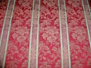 SCALAMANDRE BEL AMI MOIRED STRIPE DAMASK FABRIC 17 YARDS CRIMSON STEEL HONEY