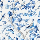 SCALAMANDRE BELIZE COTTON PRINT FABRIC PORCELAIN
