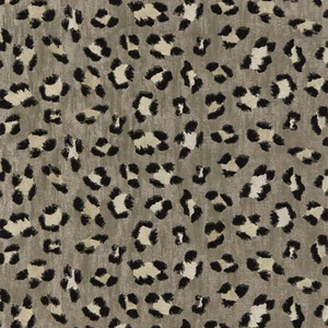 SCALAMANDRE BRODERIE LEOPARD JAQCUARD EMBROIDERY ANIMAL FABRIC EBONY ON SILVER
