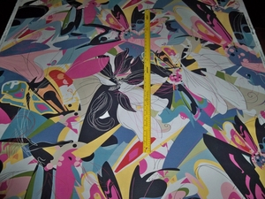 SCALAMANDRE BUTTERFLY EXPLOSION DIANE VON FURSTENBERG  RETRO DECO FABRIC MULTI 21 YARDS