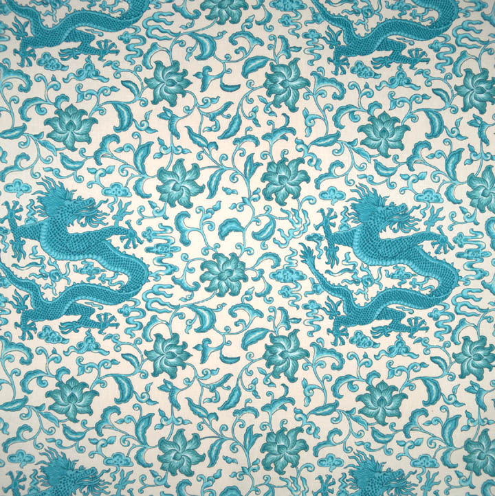 Scalamandre Chi En Dragon Toile Fabric Turquoise On Eggshell