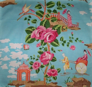 SCALAMANDRE CHINOISERIE CHINA ROSE TOILE FABRIC SHABBY ROSE PINK ORANGE-CORAL AMBER GREEN BLUE