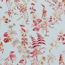 SCALAMANDRE CHINOISERIE PAGODAS TOILE FABRIC AQUA MULTI