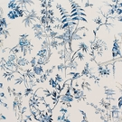 SCALAMANDRE CHINOISERIE PAGODAS TOILE FABRIC CHINA BLUE